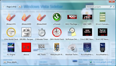 150 Beautiful Microsoft Windows Vista Sidebar Gadgets